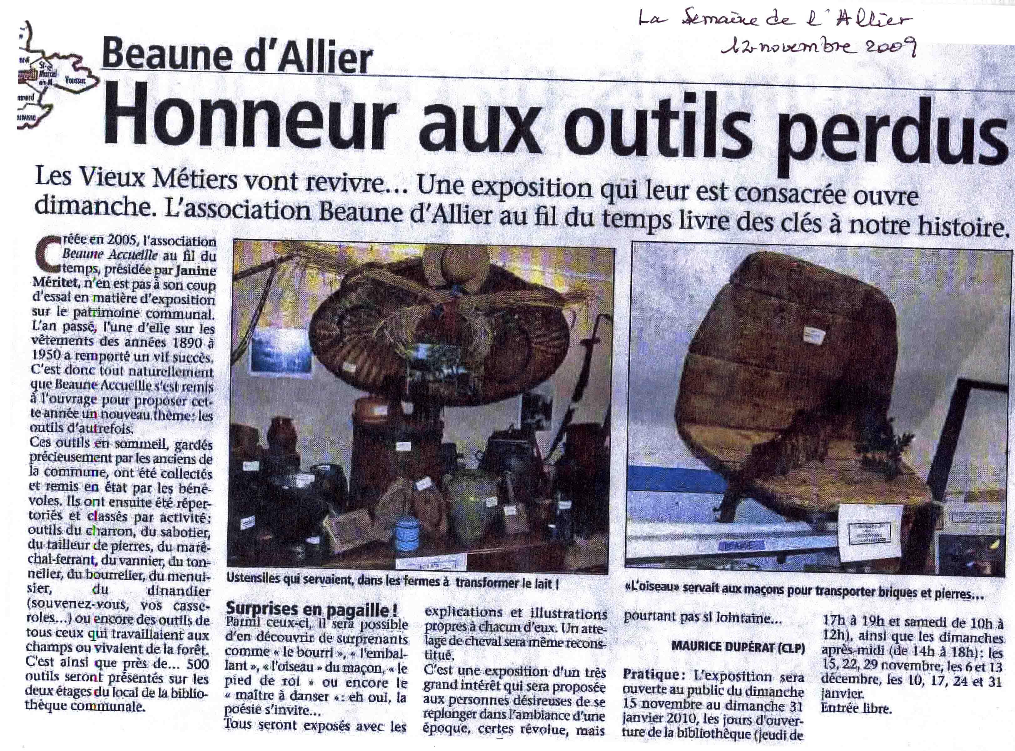 Article expo outils, novembre 2009
